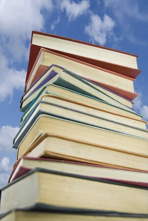 A stack of books against a sky background Stock Photo - 4234691