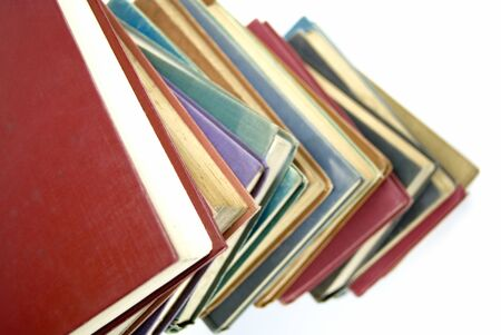 A stack of old books isolated on white, shallow depth of field Stock Photo - 4234690