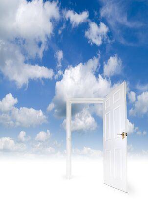 An open door in a heavenly environment