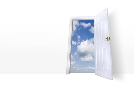 An open door leading to a bright summer sky