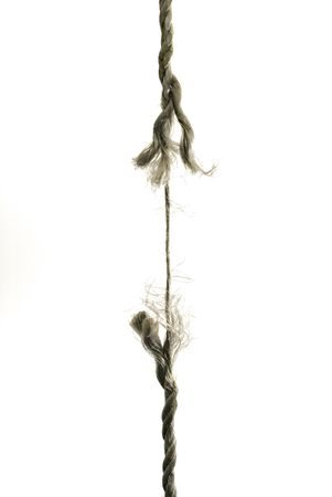 A hanging rope is about to break