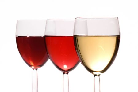 Collection of all three types of wine isolate on white Stock Photo