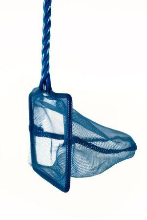 Blue fishing net isolated on a white background photo