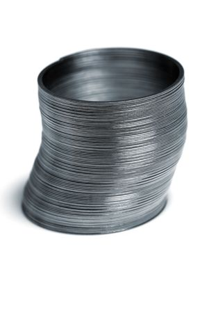Metal slinky waiting patiently to be played with