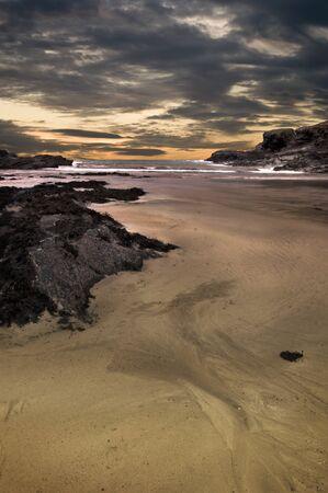 Dramatic coastline landscape of Port Isaac in Cornwall photo