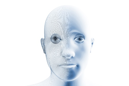 A robotic humanoid face with partial wireframe construction Stock Photo - 9019898