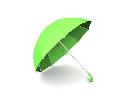 3d render of an umbrella in green Stock Photo
