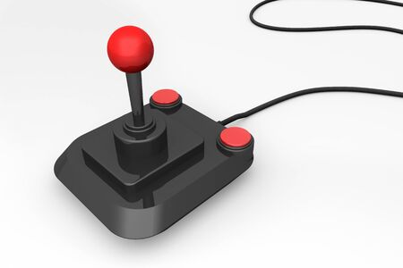 gamepad: 3d render of a retro joystick in black and red Stock Photo