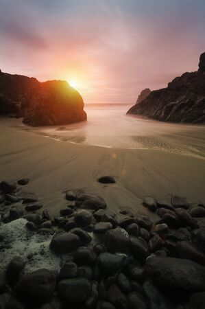 Beautiful sunset at Kynance Cove in Cornwall Stock Photo - 13200345