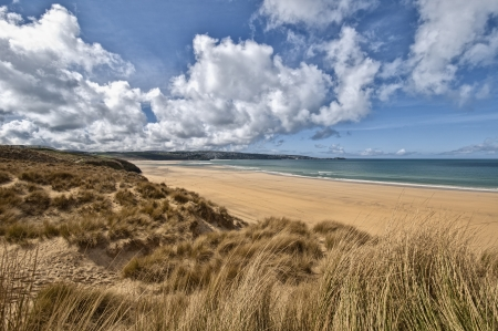Landscape of a beautiful beach in Cornwall England