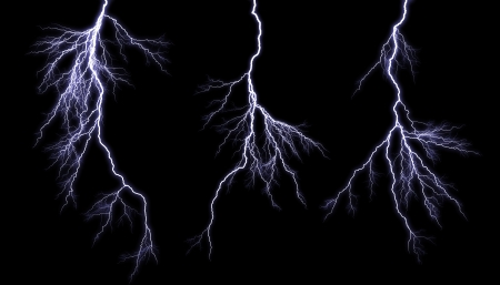 Different lightning bolts isolating on black 写真素材