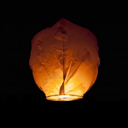 Glowing Chinese Lantern isolated on black
