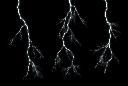 Different lightning bolts isolating on black Banco de Imagens
