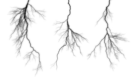 Black lightning isolated on a white background