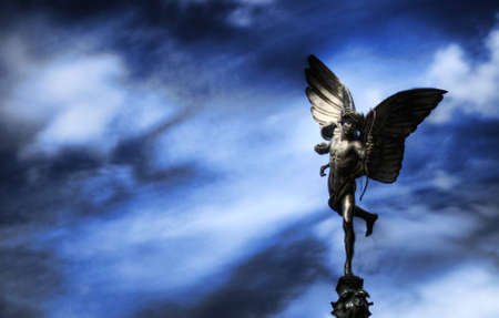 angels fountain: Sculpture of Eros in Piccadilly Circus in London, England