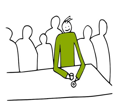 social networking: semplice disegno illustra il concetto di essere fisico solo tra amici virtuali - aka amici di social networking