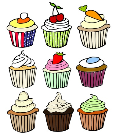nine favorite cupcake flavors Stock Vector - 10033150