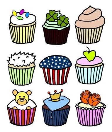 jellybean: nine tasty theme cupcakes Illustration