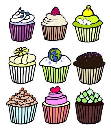 nine cupcake themes Stock Vector - 10858199