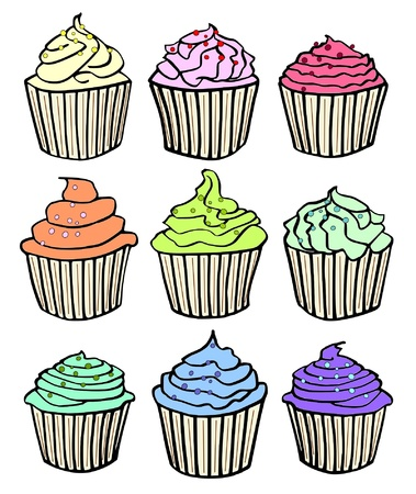 cup cakes: nine pastel colored cupcakes