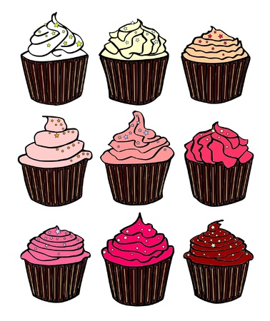 nine red cupcakes Stock Vector - 10858203