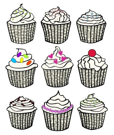 nine cupcakes in fancy cupcake liners Vector