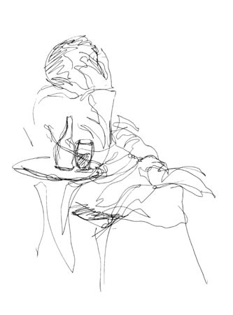 man in despair sitting at a table resting his head in his hand Illustration