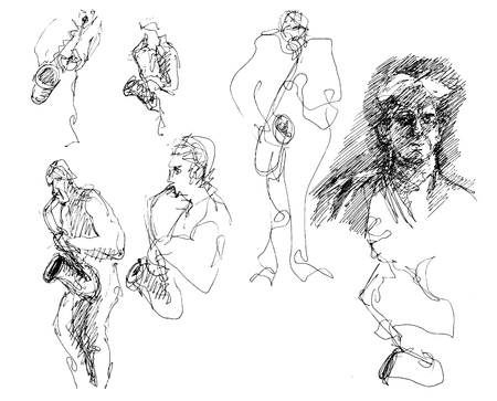 blues music: doodles of a saxophone player Illustration