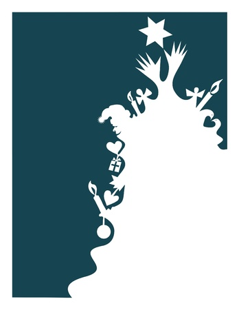 christmas spirit: Silhouette of a tree containing the symbols of Christmas.