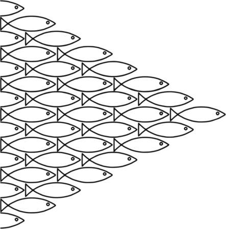 going in: seguidores: banco de peces va en la misma direcci�n despu�s de la otra, memoria de 3 segundos. Foto de archivo