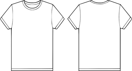 back and front side of a blank t-shirt vector illustration