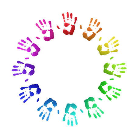 hand colored: Colorful handprints, on white, of human hands in circle.