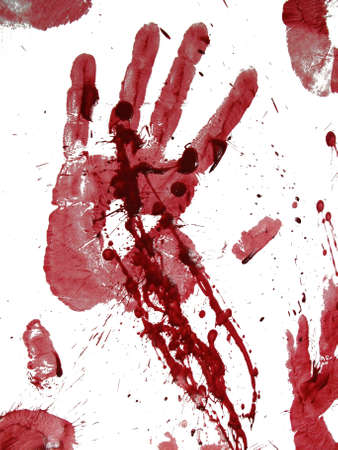 murdering: Bloody hand print isolated on white