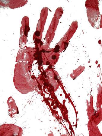 uccidere: Sanguinosa mano stampa isolata on white  Archivio Fotografico