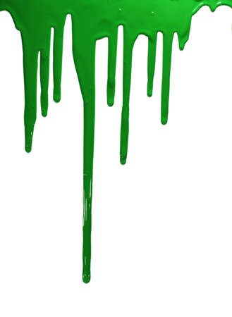 paint dripping: Green paint isolated on white. Stock Photo