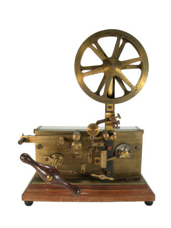 telegraphic communication: Original old telegraph isolated on white. Stock Photo