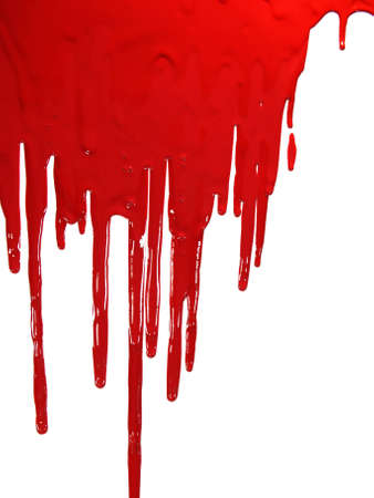 "spatters: Red paint ""blooding"" on white Stock Photo"