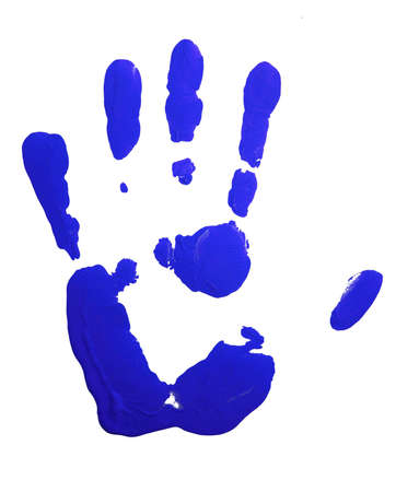 hand colored: Blue hand-print isolated on white. Stock Photo