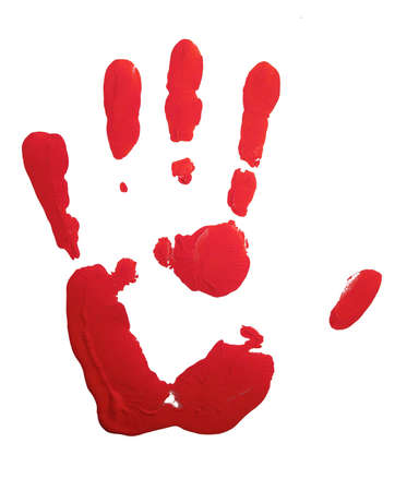 finger paint: Red hand-print on white Stock Photo