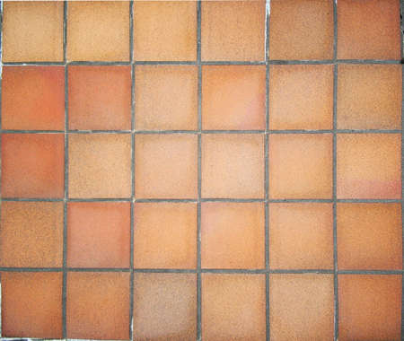 terracotta: Floor in terracotta square tiles Stock Photo