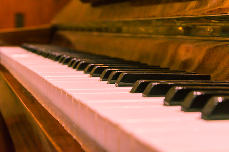 Piano keys. Keys from different sides. Stock Photo