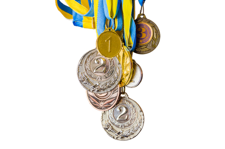 Gold, silver and bronze sports Ukrainian medals.