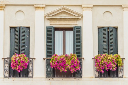 The best windows of Venice in beautiful sunny weather Stockfoto
