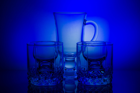 Still life of glass glasses on the light, beautifully furnished.