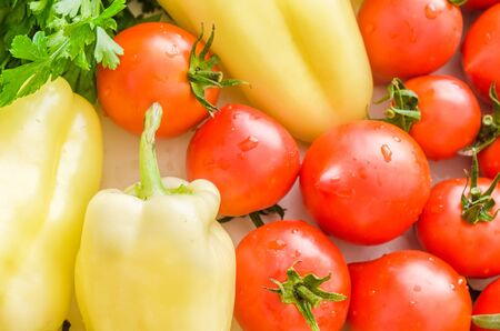 Beautiful colorful background with fresh vegetables. 스톡 콘텐츠