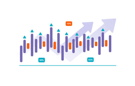 Financial infographics, charts and growth arrows. Cartoon character flat vector illustration. Illusztráció