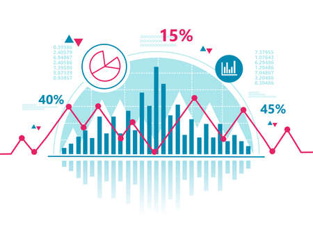 Stock chart and business statistic of stock market trading with red graph. Financial investment and economic concept. Vector illustration design Illusztráció