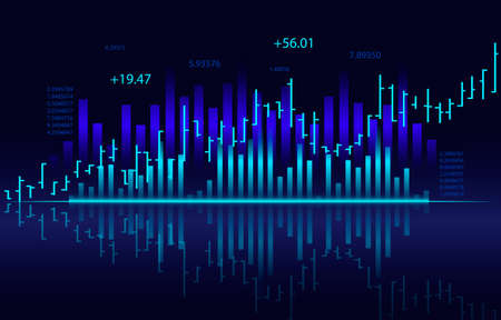 Bar chart with financial graph and stock chart on virtual screen. Business and success concept. Vector illustration design