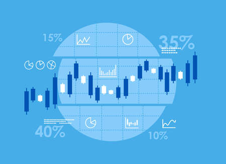 Candlestick stock exchange and finance charts. Financial data and statistic concept. Cartoon character flat vector illustration.
