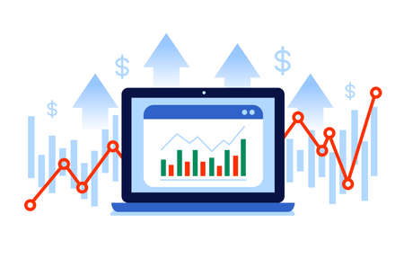 Financial infographics, charts, growth arrows and laptop computer icon. Cartoon character flat vector illustration.